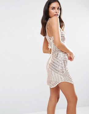 photo High Neck Sequin Dress by Love & Other Things, color Apricot - Image 2