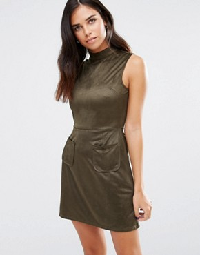 photo High Neck Dress with Pockets by Love & Other Things, color Khaki - Image 1