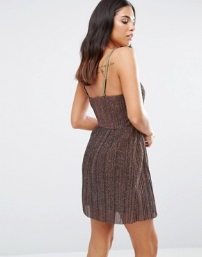 photo Lace Cami Skater Dress by Love & Other Things, color Coffee - Image 2