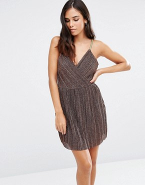 photo Lace Cami Skater Dress by Love & Other Things, color Coffee - Image 1