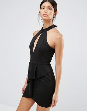 photo Peplum Dress with Keyhole by Love & Other Things, color Black - Image 1