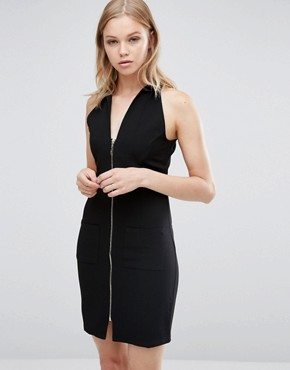 photo Zip Front Bodycon Dress by Love & Other Things, color Black - Image 1