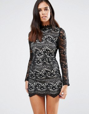 photo High Neck Lace Dress by Love & Other Things, color Black - Image 2