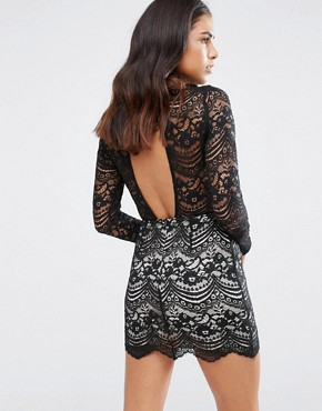 photo High Neck Lace Dress by Love & Other Things, color Black - Image 1