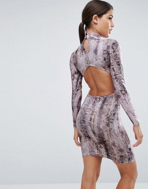 photo High Neck Snake Print Open Back Mini Dress by ASOS, color Snake - Image 1