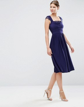 photo Lace Insert Cowl Midi Dress by ASOS TALL WEDDING, color Navy - Image 2