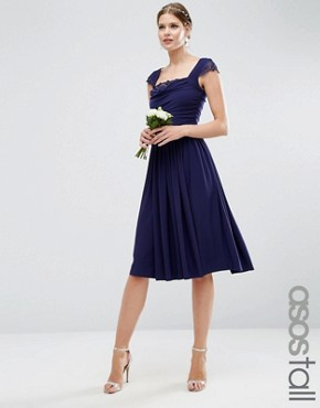 photo Lace Insert Cowl Midi Dress by ASOS TALL WEDDING, color Navy - Image 1