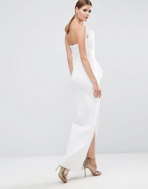 photo Organza Bandeau Scuba Maxi Dress by ASOS TALL RED CARPET, color Ivory - Image 2