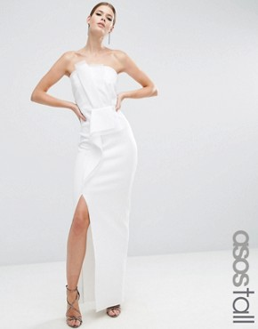 photo Organza Bandeau Scuba Maxi Dress by ASOS TALL RED CARPET, color Ivory - Image 1