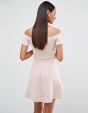 photo Plunge Midi Skater Dress by Missguided Tall, color Mauve - Image 2
