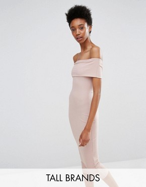 photo Ribbed Bardot Bodycon Dress by Missguided Tall, color Nude - Image 1