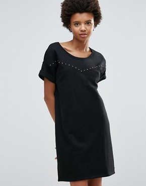 photo Sweat T-Shirt Dress by Maison Scotch, color Black - Image 1