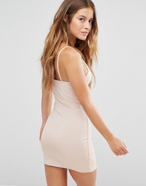 photo Ribbed Bodycon Cami Dress by Missguided Petite, color Camel - Image 2