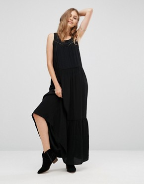 photo Mesh Insert Maxi Dress by Maison Scotch, color Black - Image 1