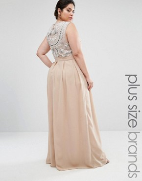 photo Delicate Maxi Dress with Embellished Back by Lovedrobe Luxe, color Mink - Image 1