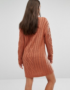 photo Chunky Cable Knit Mini Dress by Missguided, color Toffee - Image 2
