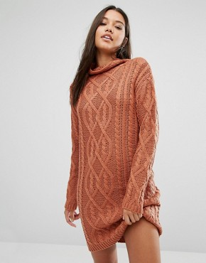 photo Chunky Cable Knit Mini Dress by Missguided, color Toffee - Image 1