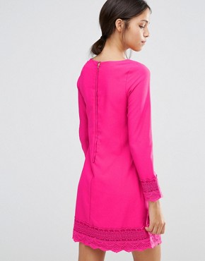 photo Long Sleeve Shift Dress with Crochet Detail by Uttam Boutique, color Fuchsia - Image 2