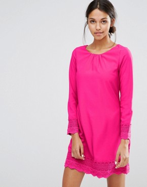 photo Long Sleeve Shift Dress with Crochet Detail by Uttam Boutique, color Fuchsia - Image 1