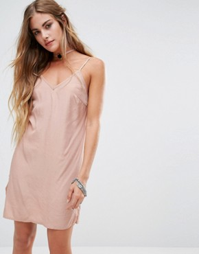 photo Cami Slip Dress with Rose Choker Detail by Kiss The Sky, color Nude - Image 1