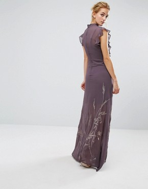photo High Neck Maxi with Ruffle Detail and Embroidered Skirt by Hope & Ivy, color Grey - Image 2