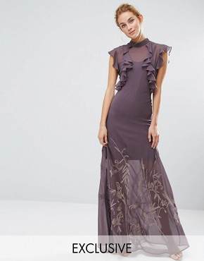 photo High Neck Maxi with Ruffle Detail and Embroidered Skirt by Hope & Ivy, color Grey - Image 1
