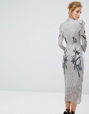 photo All Over Lace Midi Dress with Embroidery by Hope & Ivy, color Light Grey - Image 2