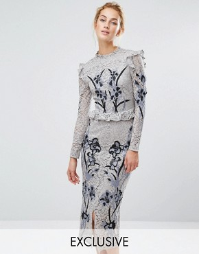 photo All Over Lace Midi Dress with Embroidery by Hope & Ivy, color Light Grey - Image 1