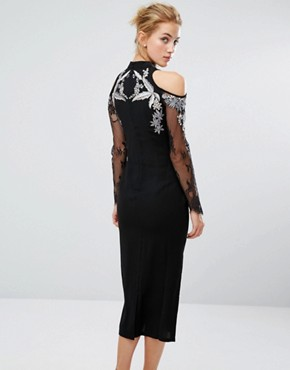 photo Midi Pencil Dress with Cold Shoulder and Embroidery by Hope & Ivy, color Black - Image 2