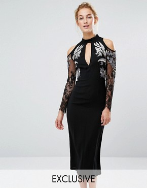 photo Midi Pencil Dress with Cold Shoulder and Embroidery by Hope & Ivy, color Black - Image 1