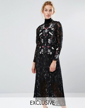 photo Midi Dress in Lace and Embroidery by Hope & Ivy, color Black/Multi - Image 1