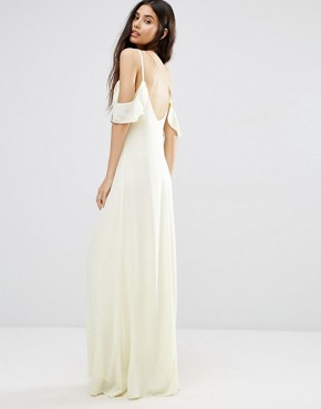 photo Frill Cold Shoulder Maxi Dress by Oh My Love, color Yellow - Image 2
