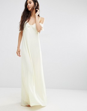 photo Frill Cold Shoulder Maxi Dress by Oh My Love, color Yellow - Image 1