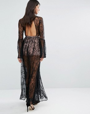 photo Majestic Lace Maxi Dress by The Jetset Diaries, color Black - Image 2