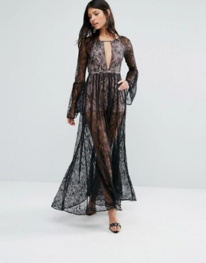 photo Majestic Lace Maxi Dress by The Jetset Diaries, color Black - Image 1