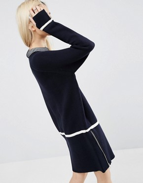photo Zip Detail Knitted Dress by ASOS WHITE, color Navy - Image 2
