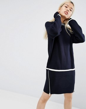 photo Zip Detail Knitted Dress by ASOS WHITE, color Navy - Image 1