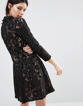 photo Smock Dress with Embellished Collar in Lace by ASOS PETITE Premium, color Black - Image 2