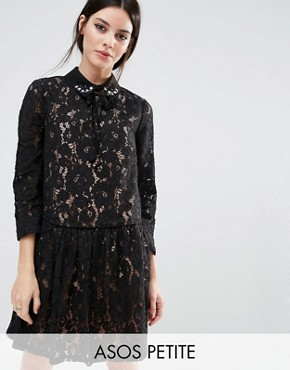 photo Smock Dress with Embellished Collar in Lace by ASOS PETITE Premium, color Black - Image 1
