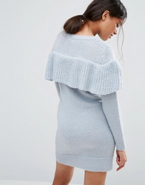 photo Jumper Dress with Ruffle by ASOS PETITE, color Blue - Image 2