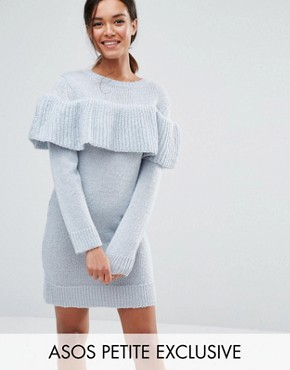 photo Jumper Dress with Ruffle by ASOS PETITE, color Blue - Image 1