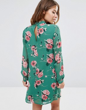 photo Long Sleeve Ruffle Mini Shift Dress in Floral Print by ASOS PETITE, color Green - Image 2