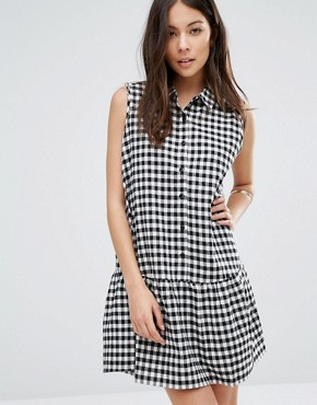 photo Button Front Checked Cotton Dress with Peter Pan Collar and Pep Hem by Unique 21, color White Check - Image 1