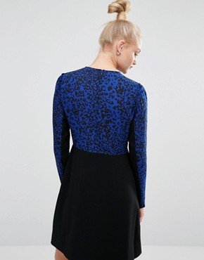 photo Leopard Print Long Sleeve Dress by Sonia by Sonia Rykiel, color Black/Blue - Image 2
