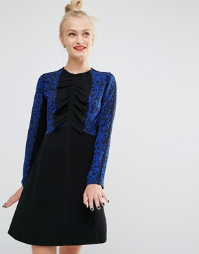 photo Leopard Print Long Sleeve Dress by Sonia by Sonia Rykiel, color Black/Blue - Image 1