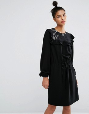 photo See Through Heart Detail Crepe Dress by Sonia by Sonia Rykiel, color Black - Image 1
