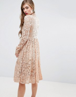 photo Midi Lace Pleat Shirt Dress by ASOS, color Nude - Image 2