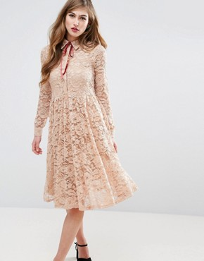 photo Midi Lace Pleat Shirt Dress by ASOS, color Nude - Image 1