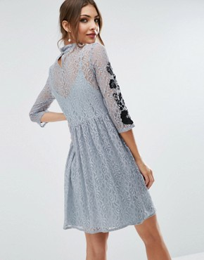 photo Embroidered Lace Mini Skater Dress by ASOS, color Grey - Image 2