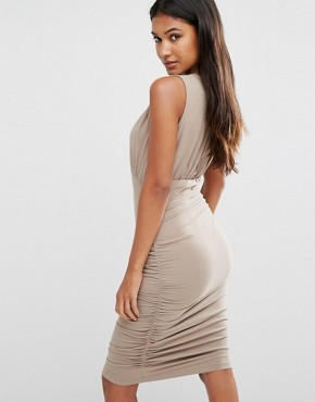 photo Day Ruched Sleeveless Dress by Supertrash, color Beige - Image 2